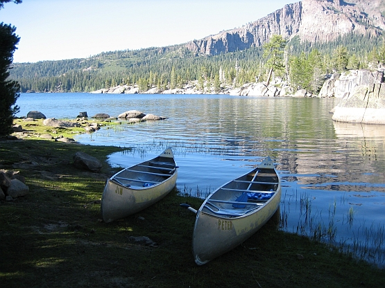 Our canoes at lake's edge in 2005
